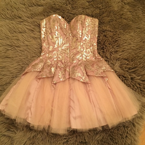 ffb63bed Dresses & Skirts - Masquerade Champagne & Gold Sequin Dress 3/4 Prom